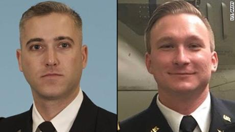 Chief Warrant Officer 3 Ryan Connolly (L) and Warrant Officer James Casadona (R) were killed in an Apache helicopter crash at Fort Campbell, Kentucky, Friday evening.