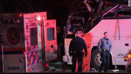 NS Slug: NY: BUS CRASH CLOSES SOUTHERN STATE PARKWAY  Synopsis: A bus crashed into an overpass on the highway outside of Lakeview on Sunday night  Video Shows: Various shots of bus, traffic, amublance and police    Keywords: NEW YORK ACCIDENT CRASH