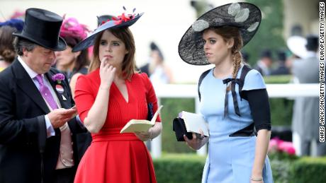 Princess Eugenie of York (center) and Princess Beatrice of York (right) at Royal Ascot in 2017. Both have HRH titles.