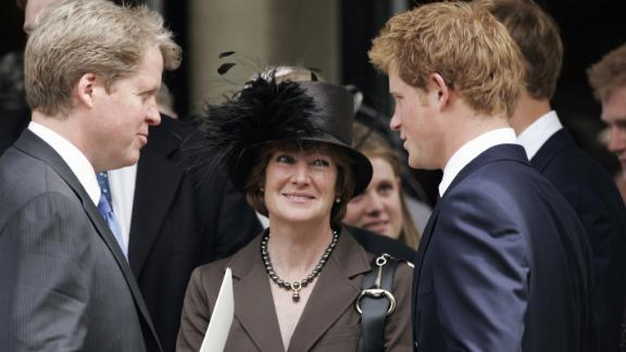 Charles, Earl Spencer, and Lady Sarah McCorquodale are greeted by Harry after the 10th anniversary memorial service for Diana in 2007.