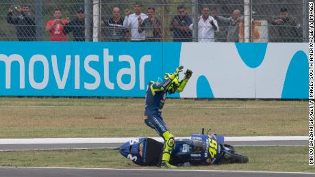 Valentino Rossi was left furious after being forced off the track by rival Marc Maequez.