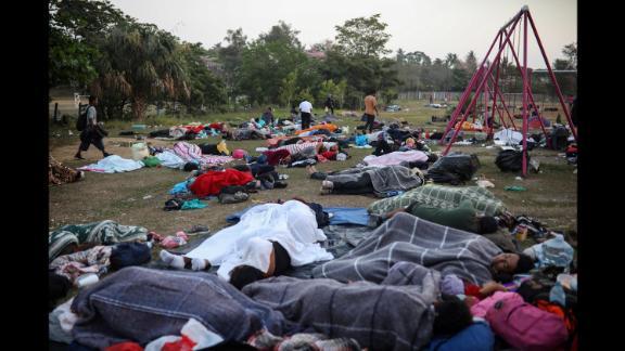 Dozens of migrants sleep at the sports club in Matias Romero on April 3.