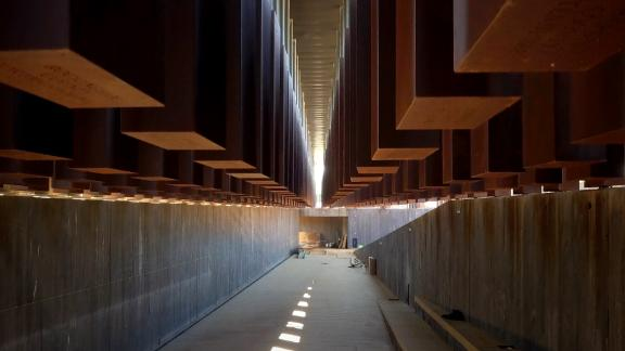 Hanging monuments -- 800 in all -- honor US lynching victims at a new memorial in Montgomery, Alabama.