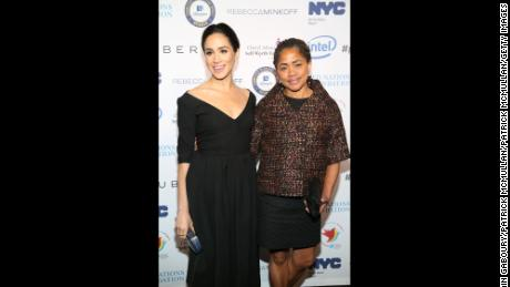 Meghan Markle and Doria Ragland are seen at a UN women's event in New York City in 2015.