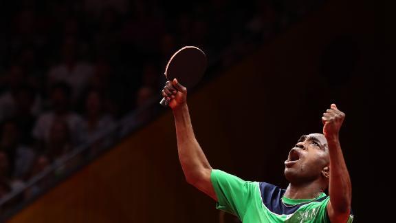 Table tennis player Bode Abiodun celebrates en route to Nigeria