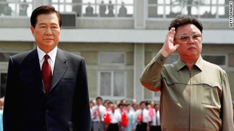 The late leaders of North and South Korea, Kim Jong Il, right, and Kim Dae-jung, left, meet to reconcile political differences as Kim Dae-jung arrives in June 2000 at the Sunan International Airport in Pyongyang, North Korea.