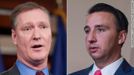 At left, Rep. Steve Stivers, an Ohio Republican and chairman of the National Republican Congressional Committee, and at right, Rep. Ryan Costello, a Pennsylvania Republican