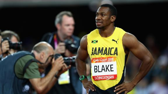 Two-time Olympic gold medalist Yohan Blake was left dejected after a disappointing third-place finish.