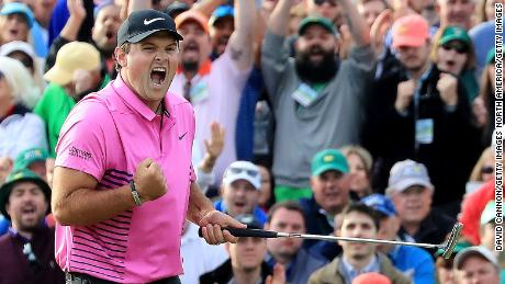 AUGUSTA, GA - APRIL 08:  Patrick Reed of the United States celebrates after making par on the 18th green during the final round to win the 2018 Masters Tournament at Augusta National Golf Club on April 8, 2018 in Augusta, Georgia.  (Photo by David Cannon/Getty Images)