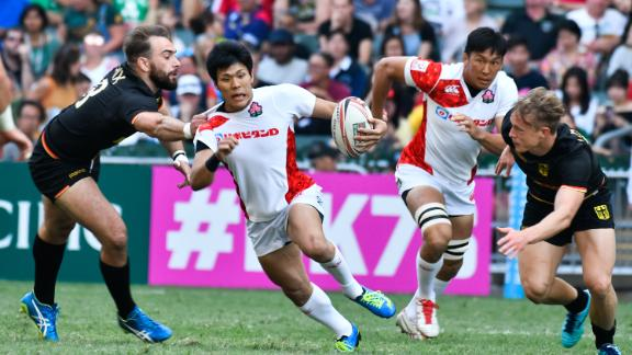 Japan gained a berth in next year's Sevens World Series with a 19-14 victory over Germany in the qualifier event.