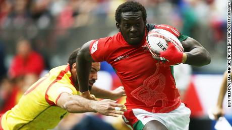 VANCOUVER, BC - MARCH 10: Oscar Ouma of Kenya runs the ball by Inaki Villanueva of Spain during the Canada Sevens, the Sixth round of the HSBC Sevens World Series at the BC Place stadium Centre on March 10, 2018 in Vancouver, British Columbia, Canada. (Photo by Ben Nelms/Getty Images)