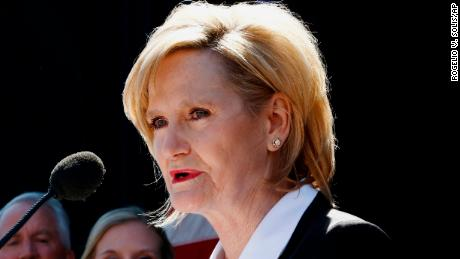 Then-Mississippi Agriculture Commissioner Cindy Hyde-Smith speaks to a crowd after Gov. Phil Bryant selected her to succeed fellow Republican Thad Cochran in the U.S. Senate last month in Brookhaven, Mississippi. (AP Photo/Rogelio V. Solis)