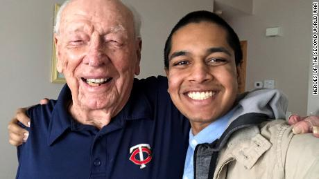 "Rishi Sharma with Robert ""Doc"" Hanley, 95. After Hanley  was captured by the Japanese he was forced to work on the Burma railroad as a slave laborer."