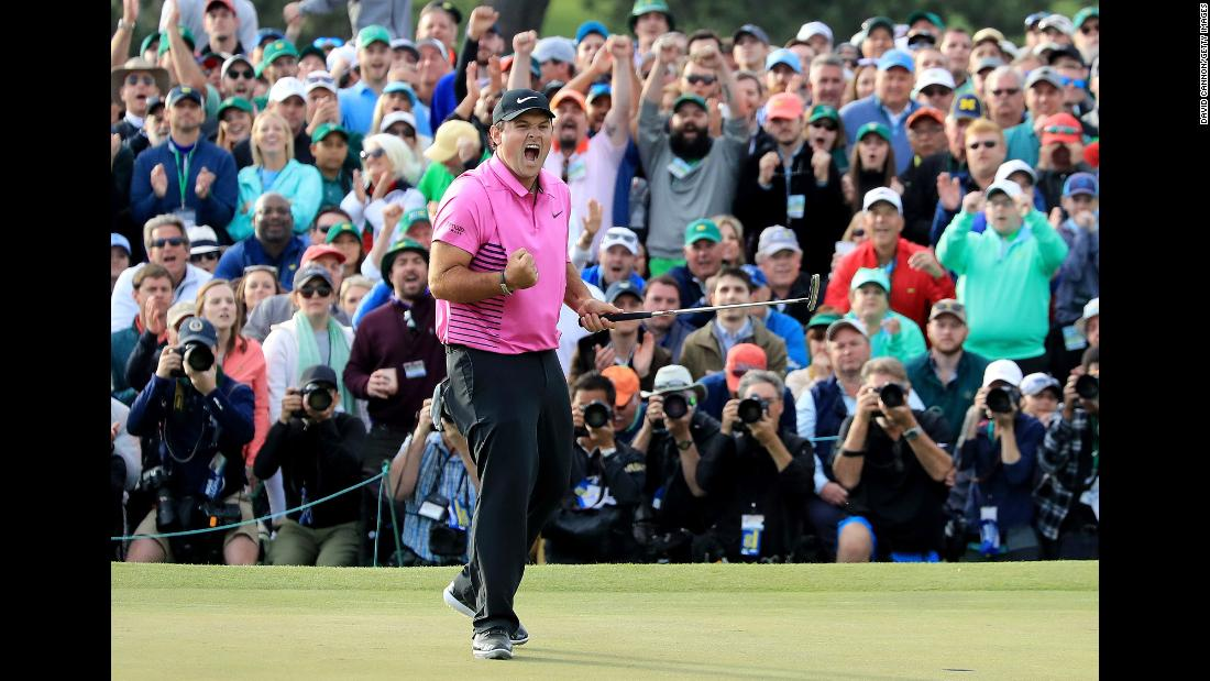"Patrick Reed celebrates after his par putt <a href=""https://www.cnn.com/2018/04/08/sport/masters-reed-wins-spieth-fowler/index.html"" target=""_blank"">clinched the Masters title</a> on Sunday, April 8. It is the first major victory for Reed, who finished a stroke ahead of Rickie Fowler."