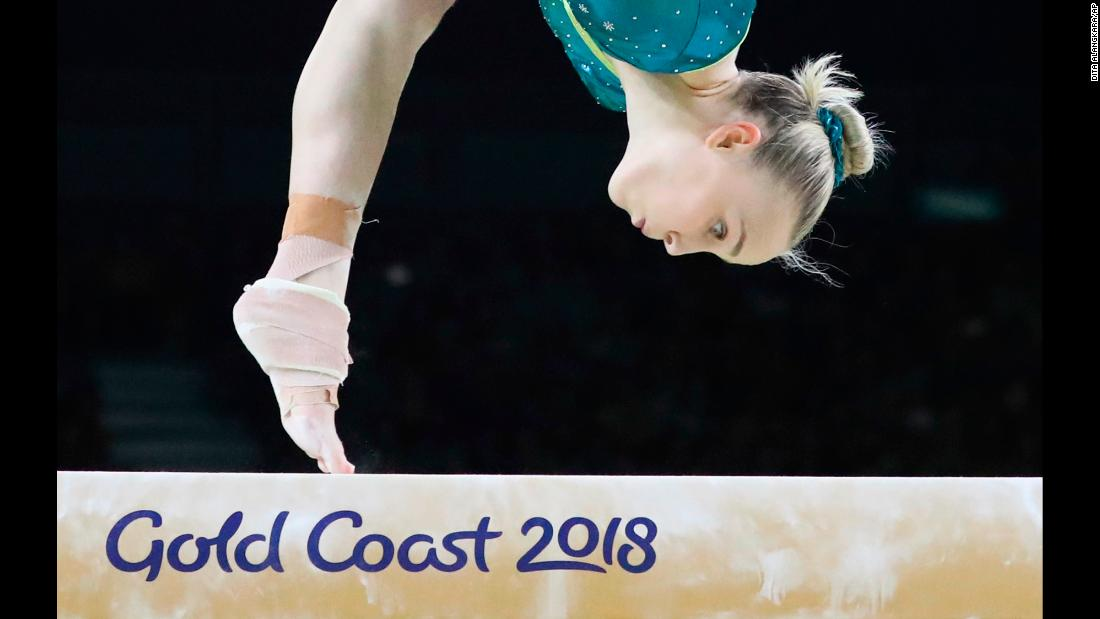 Australian gymnast Emily Whitehead competes on the balance beam at the Commonwealth Games on Friday, April 6. The Games are taking place in Gold Coast, Australia, through April 15.