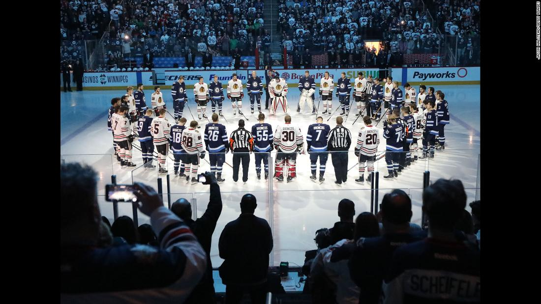 "The Winnipeg Jets and the Chicago Blackhawks take a moment to honor the Humboldt Broncos, a junior hockey team that was involved in <a href=""https://www.cnn.com/2018/04/08/americas/canada-bus-crash/index.html"" target=""_blank"">a deadly bus accident</a> on Friday, April 6. Both NHL teams wore ""Broncos"" on the backs of their jerseys."