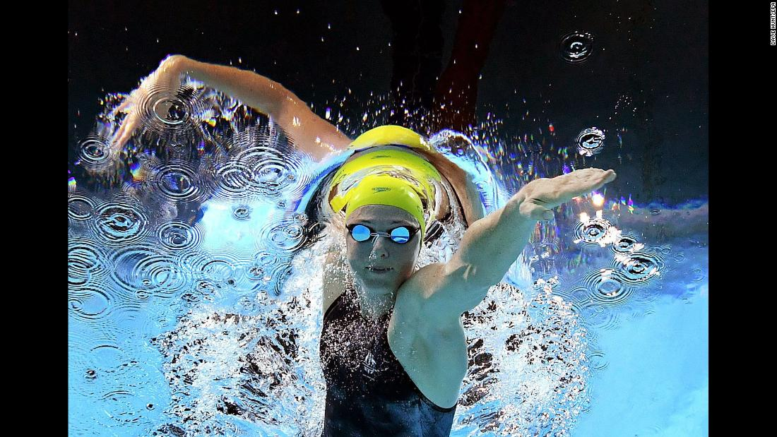 Australian swimmer Cate Campbell competes in the 100-meter freestyle during the Commonwealth Games on Sunday, April 8. She finished in second behind her sister Bronte.