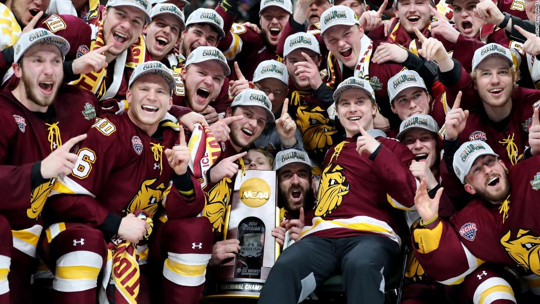 "The hockey team from Minnesota-Duluth celebrates after it defeated Notre Dame 2-1 <a href=""http://bleacherreport.com/articles/2768972-minnesota-duluth-beats-notre-dame-2-1-to-win-2018-ncaa-hockey-championship"" target=""_blank"">to win the NCAA Division I title</a> on Saturday, April 7. It's the second national title for the Bulldogs, who also won in 2011."