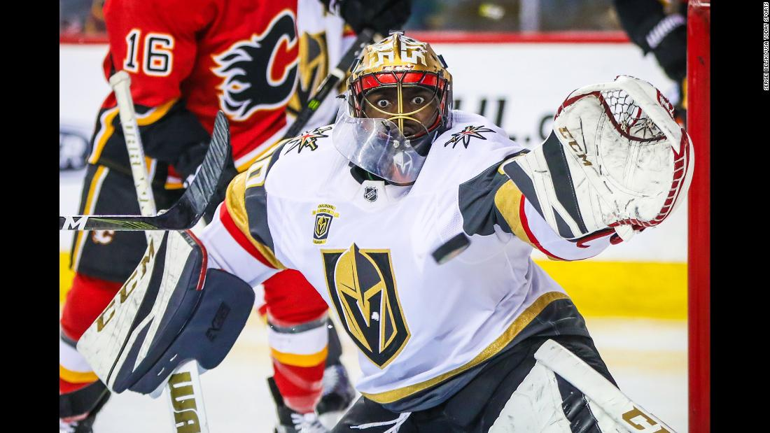 Vegas goalie Malcolm Subban makes a save during an NHL game in Calgary, Alberta, on Saturday, April 7.