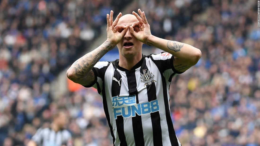 Newcastle midfielder Jonjo Shelvey celebrates his goal during a Premier League match in Leicester, England, on Saturday, April 7. Newcastle defeated Leicester City 2-1.
