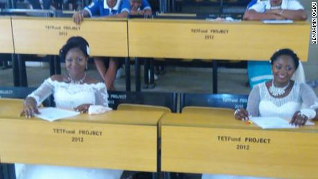 Dorcas Atsea and Deborah Atoh sit their final year exams just after saying 'I do' at their wedding ceremonies.