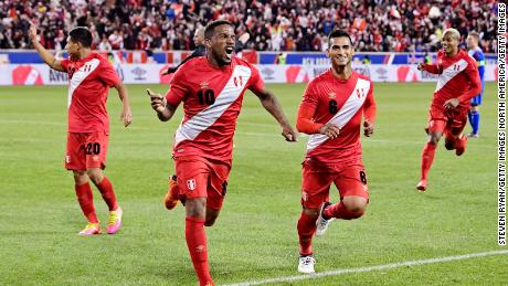 HARRISON, NJ - MARCH 27:  Jefferson Farfan #10 of Peru celebrates after scoring the third goal of his team against Iceland in an International Friendly match at Red Bull Arena on March 27, 2018 in Harrison, New Jersey.  (Photo by Steven Ryan/Getty Images)