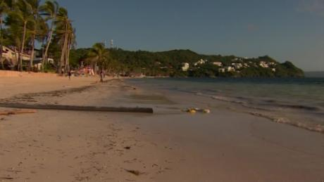 A sewage pipe leading to the ocean on one of Boracay's famous beaches.