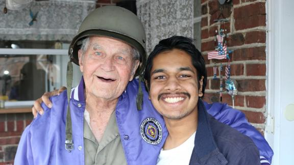 Rishi Sharma with Harold Nelson, 103. Nelson served with the 3rd Infantry Division, was wounded twice and was put up for the Silver Star medal.