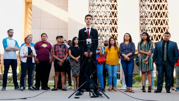 Saul Rascon, a junior at Brophy College Preparatory high school in Phoenix, speaks at a news conference to protest the Arizona Supreme Court ruling.