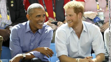 Former U.S. President Barack Obama and Prince Harry on day 7 of the Invictus Games on September 29, 2017 in Toronto, Canada.