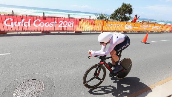 Bond competes during the cycling time trial on day six of the Gold Coast 2018 Commonwealth Games.