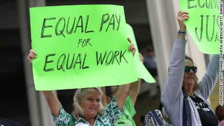 FORT LAUDERDALE, FL - MARCH 14:  Kathleen Van Schalkwyk (L) joins with other protesters to ask that woman be given the chance to have equal pay as their male co-workers on March 14, 2017 in Fort Lauderdale, Florida. The protest was held as the legislation in the state of Florida looks at passing the Helen Gordon Davis fair pay protection act that would strengthen state laws in terms of equal pay.  (Photo by Joe Raedle/Getty Images)