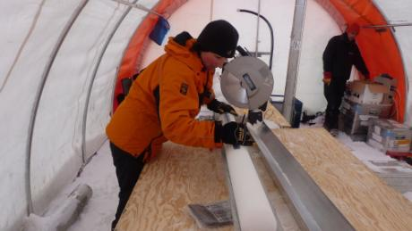 Liz Thomas of the British Antarctic Survey analyzes one of the ice cores used in the study.