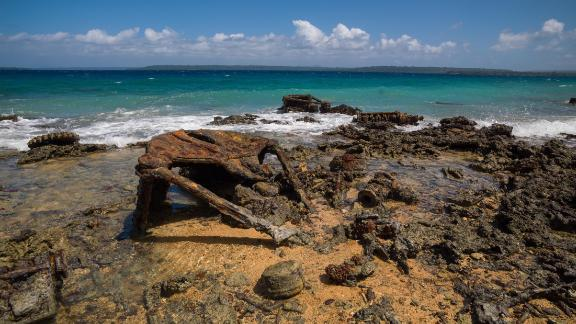 "File photo of ""Million Dollar Point,"" Vanuatu, where the US military dumped equipment off the beach at the end of World War Two."