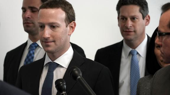WASHINGTON, DC - APRIL 09:  Facebook CEO Mark Zuckerberg (2 L) arrives at a meeting with U.S. Sen. Bill Nelson (D-FL), ranking member of the Senate Committee on Commerce, Science, and Transportation, April 9, 2018 on Capitol Hill in Washington, DC. Zuckerberg is scheduled to testify before a few Congressional committees this week on the mass users data Facebook has shared with political operatives.  (Photo by Alex Wong/Getty Images)