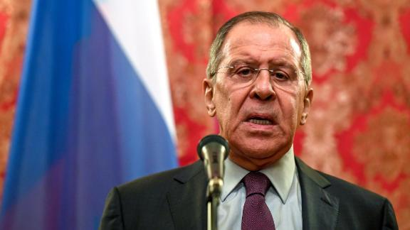 Russian Foreign Minister Sergei Lavrov speaks during a press conference after his meeting with his North Korean counterpart in Moscow on April 10, 2018. The North