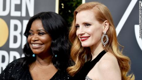 Ocatvia Spencer and Jessica Chastain attend The 75th Annual Golden Globe Awards at The Beverly Hilton Hotel on January 7, 2018 in Beverly Hills, California.