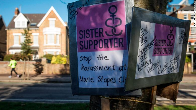 Placards in support of a Public Space Protection Order are placed outside the Marie Stopes Abortion Clinic by a pro-choice group on October 27, 2017 in London, England.