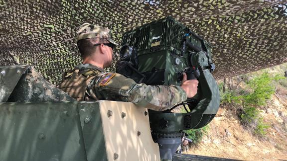 A soldier uses a Long Range Advanced Surveillance Systems while monitoring activity on the US border with Mexico.