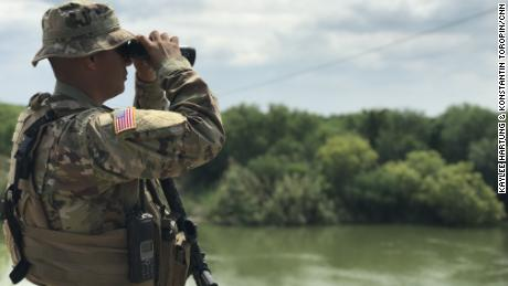 Binoculars are an important tool for Texas National Guard members watching over the Rio Grande.