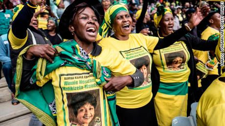 Mourners gather in Soweto for the memorial service for Winnie Madikizela-Mandela.