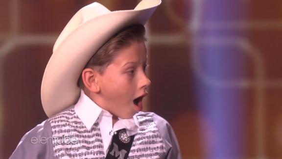 "title: Kid Yodeler Mason Ramsey Performs  duration: 00:05:41  site: Youtube  author: null  published: Tue Apr 10 2018 09:00:00 GMT-0400 (Eastern Daylight Time)  intervention: no  description: Ellen welcomed 11-year-old Mason Ramsey, whose video went viral after performing an amazing cover of Hank Williams Sr.'s ""Lovesick Blues"" at a Walmart. Mason took the stage with the classic track, and Ellen had two big surprises for him!"
