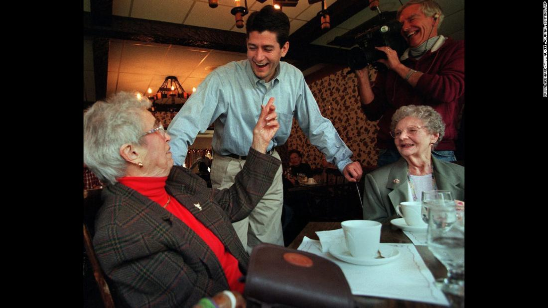 Ryan, just elected to Congress, greets Louise Parker, left, and Grace Larson on November 4, 1998, while they dine in Burlington, Wisconsin.