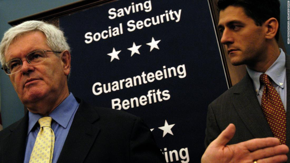 "Former House Speaker Newt Gingrich and Ryan speak about Ryan's bill, the ""Social Security Personal Savings Guarantee and Prosperity Act of 2004."""