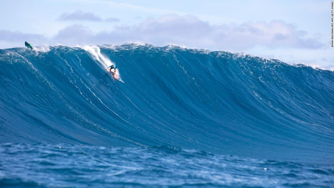 "Tackling ""Jaws"" is certainly not for the faint-hearted ... but Billy Kemper from Hawaii tames the beast during competition."