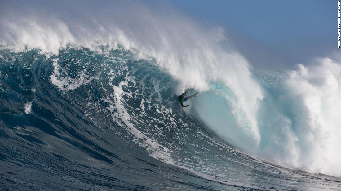 "Though while the swell can prove challenging for even the best -- here Hawaii's Albee Layer is wiped out -- windsurfing legend Robby Naish told CNN it was ""like a walk in the park."""