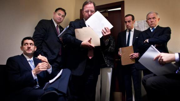 Ryan meets in 2012 with fellow Republicans -- Rep. Frank Guinta, Rep. Bill Flores, staffer Stephen Miller and Sen. Jeff Sessions -- before unveiling the coming year