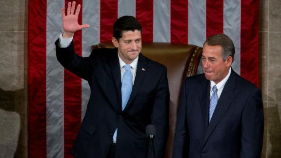 Ryan waves after his election in 2015 to replace Boehner as House speaker.