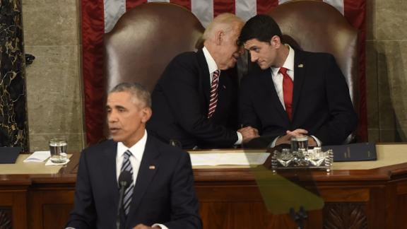 Ryan and Vice President Joe Biden chat while President Barack Obama delivers the 2016 State of the Union address.