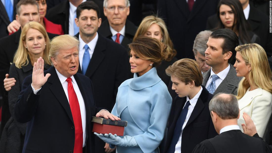 Ryan watches in 2017 as Trump is sworn in.